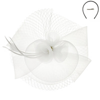 WHITE FASHIONABLE CHURCH FASCINATOR WITH FLORAL CENTER