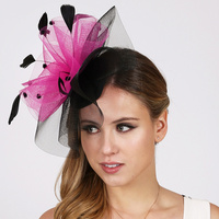 BLACK/FUCHSIA FASHIONABLE CHURCH FASCINATOR WITH FLORAL CENTER