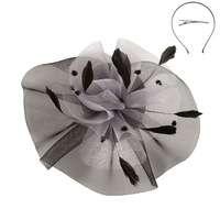 BLACK/GREY FASHIONABLE CHURCH FASCINATOR WITH FLORAL CENTER