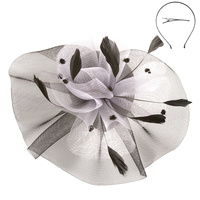 BLACK/WHITE BEAUTIFUL  DRESSY FASCINATOR WITH FEATHERS