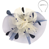 NAVY/IVORY FASHIONABLE CHURCH FASCINATOR WITH FLORAL CENTER