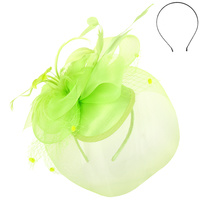 LIME GREEN CLASSIC WEDDING FASCINATOR WITH FLORAL CENTER