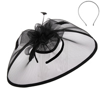 BLACK SOPHISTICATED WEDDING FASCINATOR WITH FLORAL CENTER