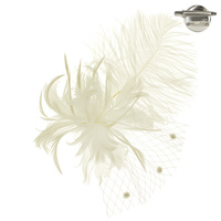 FEATHER PLUME W/NETTING HAIR PIN