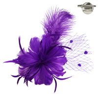 Feather Flower with Dotted Netting and Large Feather Plume Hair Clip Fascinator