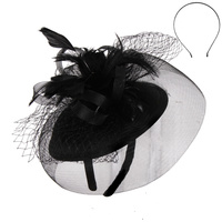 BLACK ELEGANT WEDDING FASCINATOR WITH FLORAL CENTER