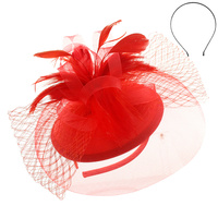 RED ELEGANT WEDDING FASCINATOR WITH FLORAL CENTER