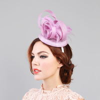 LAVENDER MINI CHURCH FASCINATOR WITH FLOWER CENTER & FEATHERS