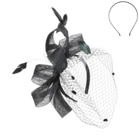 SINAMAY FEATHER BIRDCAGE VEIL HEADBAND