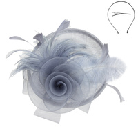 SINAMAY FASCINATOR W FLOWER AND FEATHER