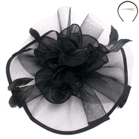 SATIN FLOWER FEATHER FASCINATOR
