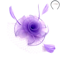 SMALL ROSE MESH FEATHER FASCINATOR