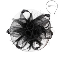 MESH 3 FLOWER FEATHER FASCINATOR