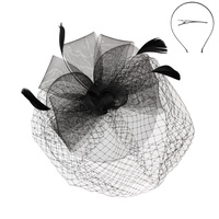 MESH FLORAL FEATHER FASCINATOR