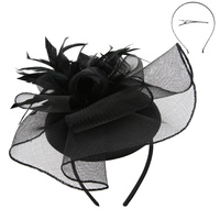 MESH FLORAL FEATHER CAP FASCINATOR