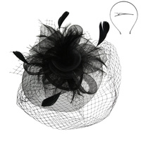 DOUBLE VEIL LIFTED FEATHER ROSE FASCINATOR SINAMAY TOP
