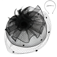 2 VEIL MESH POLKA DOT FASCINATOR