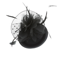 MESH FEATHERED FLOWER 50S MINI HAT