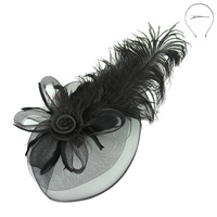 LRG PEACOCK FEATHER ROSE FASCINATOR