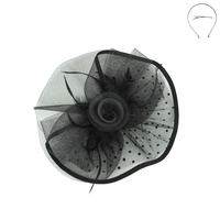 DOT ROSE DOUBLE VEIL FASCINATOR