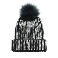 STRIPED EMBELLISHED BEANIE W/POM