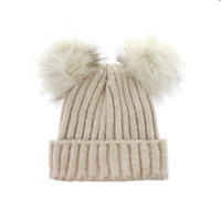 RIBBED KNIT BEANIE W/ TWO POM POMS