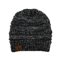 SPECKLED CABLE KNIT PONYTAIL BEANIE