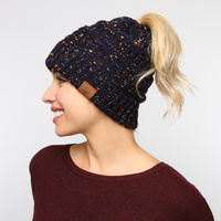 CHUNKY CABLE KNIT PONYTAIL BEANIE