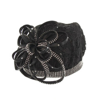 Lace Beret Hat with Loopy Bow and Stone Trim  Color: CHAMPAGNE  Size: One Size / Adjustable Inner Band