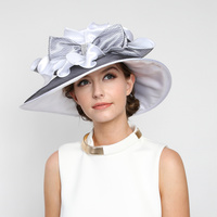 Medium Brim Satin Organza Crushable Hat With Ruffle Netted Center Htn1315Pu