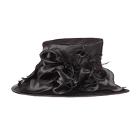 SALE! Medium Brim Satin Organza Crushable Hat With Ruffle Netted Center Htn1315S