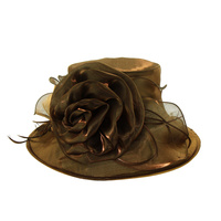 Shiny Medium Brim with Rose Crushable Organza HatColor: BROWNSize: One Size  / Adjustable Inner Band