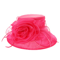 Shiny Medium Brim with Rose Crushable Organza Hat  Color: FUSCHIA  Size: One Size  / Adjustable Inner Band