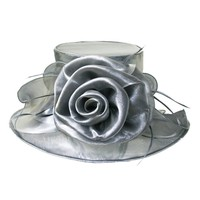 Shiny Medium Brim with Rose Crushable Organza Hat  Color: GREY  Size: One Size  / Adjustable Inner Band