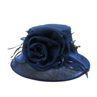 Shiny Medium Brim with Rose Crushable Organza Hat  Color: NAVY BLUE  Size: One Size  / Adjustable Inner Band