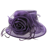 Shiny Medium Brim with Rose Crushable Organza Hat  Color: PURPLE  Size: One Size  / Adjustable Inner Band