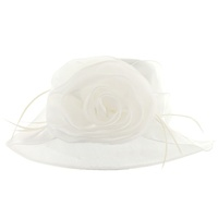 Shiny Medium Brim with Rose Crushable Organza Hat  Color: WHITE  Size: One Size  / Adjustable Inner Band