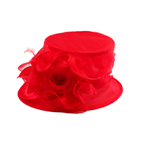 Small Brim Ruffle Flower Crushable Organza Hat Hto1266Rd