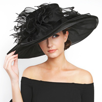 Large Brim Ruffles With Feathers Crushable Organza Hat Hto1327Bk