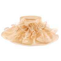 Large Brim Ruffles With Feathers Crushable Organza Hat Hto1327G