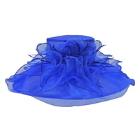 LRG ORGANZA W/FEATHER FLOWER HAT
