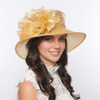 Medium brim organza hat w/ rose cluster center
