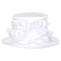 Small brim organza hat w/ floral center
