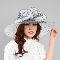 Large brim organza polka dot hat w/ stone center