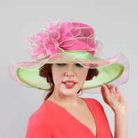 Medium brim two tone organza hat (adjustable band)