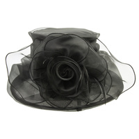 MEDIUM BRIM RUFFLE ORGANZA HAT W/