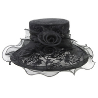 MEDIUM LACE ORGANZA HAT W/