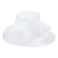 ORGANZA FLOWER CENTER MED BRIM HAT