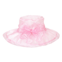 PINK ELEGANT DRESSY HAT WITH ROSE CENTER PIECE