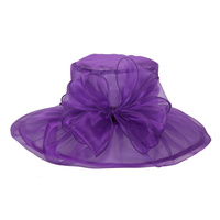 PURPLE ELEGANT DRESSY HAT WITH ROSE CENTER PIECE